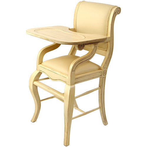 sleigh highchair in distressed ivory shown with matching ivory vinyl seat