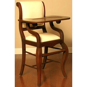 sleigh highchair shown in french walnut with ivory seat and back