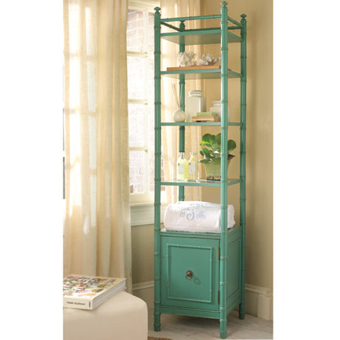 hugh etagere shown with caning sides four shelves with cabinet door on bottom in green blue gelato finish