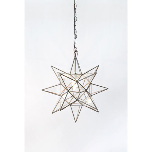 star 3 dimensional clear star glass pendant shown with brass trim and 3' chain