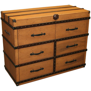 willie trunk dresser shown with six drawers and steamboat black hardware