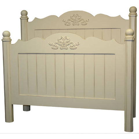 winnie bed shown in cameo white with ribbon applique shown on footboard and headboard with vertical beadboard in cameo white