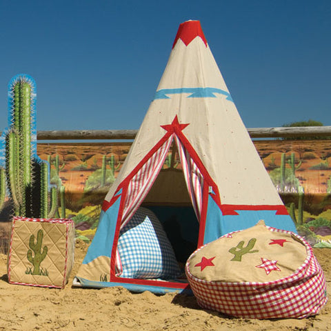 red and blue teepee with canvas background shown outdoors on a desert with coordinating storage cube and bean bag