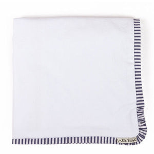 terry baby blanket shown in white terry with striped navy and white