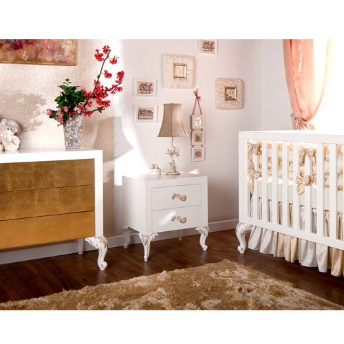 chelsea three drawer dresser shown in white with gold leaf fronts shown in nursery