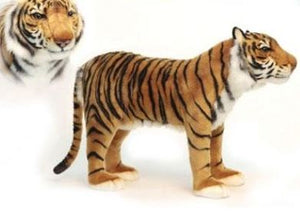 maddox the tiger is meant for child to sit on shown in gold with black stripes plush and white neck