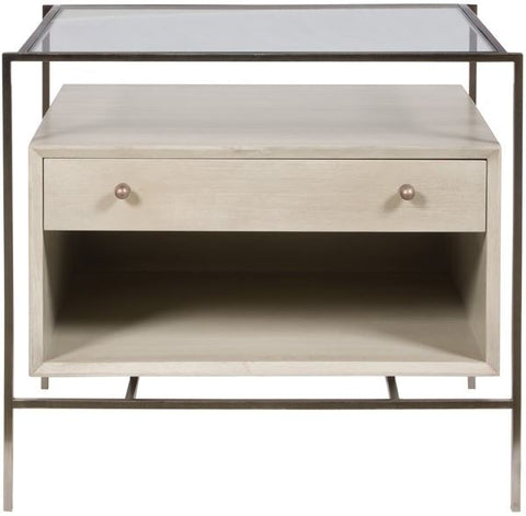 trish accent table shown in gray highlighted by a dark iron frame with glass top