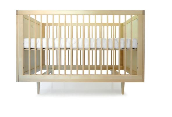 altman crib shown adjusted to highest position in birch finish