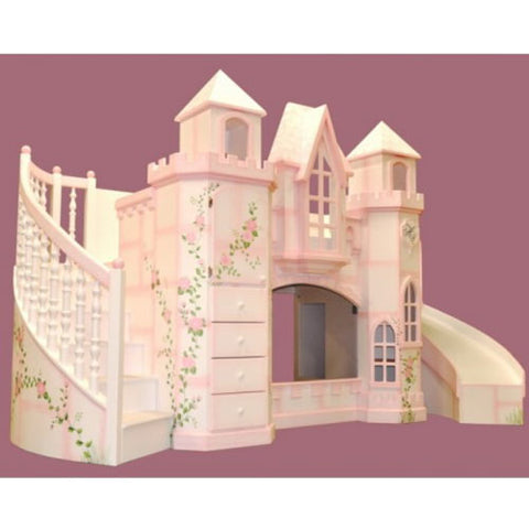 justine's castle bunkbed shown in white with pink flowers with vine showing slide on the right an d steps on the left with drawers and windows shown in the castle towers