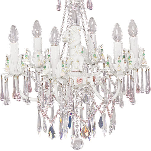 close up of candy chandelier with six lights and colorful jewels and clear crystals