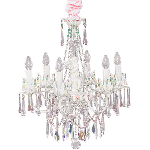 candy chandelier shown with colorful jewels dazzled with clear crystals with six lights