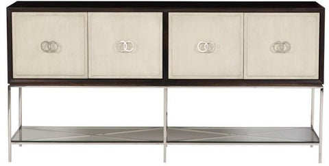 wren sideboard shown with four cube doors with silver circle door hardware outlined in dark stain with glass top on bottom
