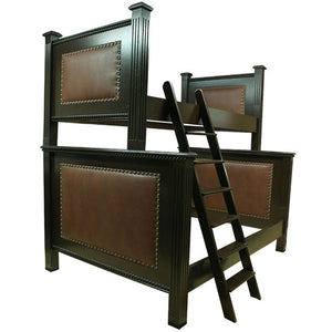 quinn twin over full bunk bed shown in black with brown leather panels bordered with unique nail heads shown with ladder on the left