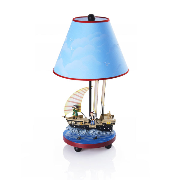 ahoy matey lamp shown with blue sky lamp shade trimmed with red with pirate ship and pirates for base