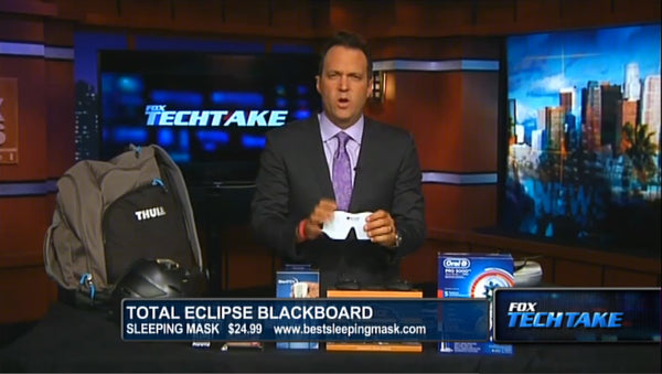 Screenshot from Fox News video segment featuring the TOTAL ECLIPSE - Whiteboard Sleep Mask