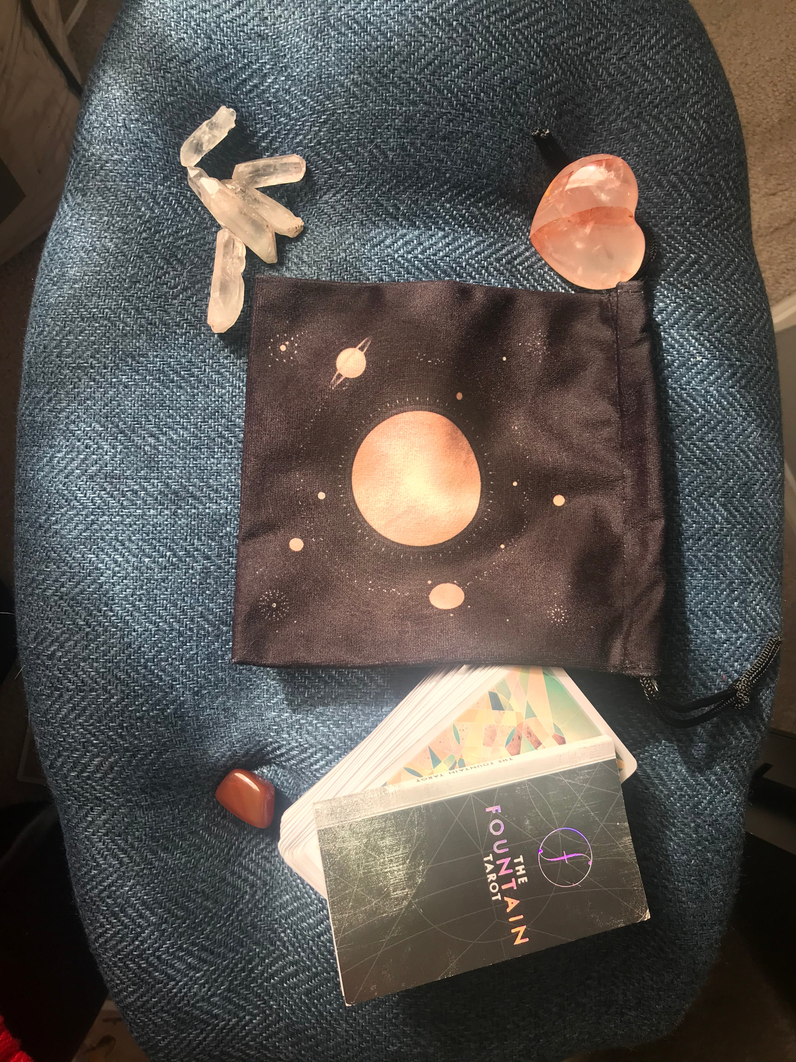 Velvet bag, SMALL: Planets and Solar System, Small 6 inches x 6.5 inches tall, Black Velvet