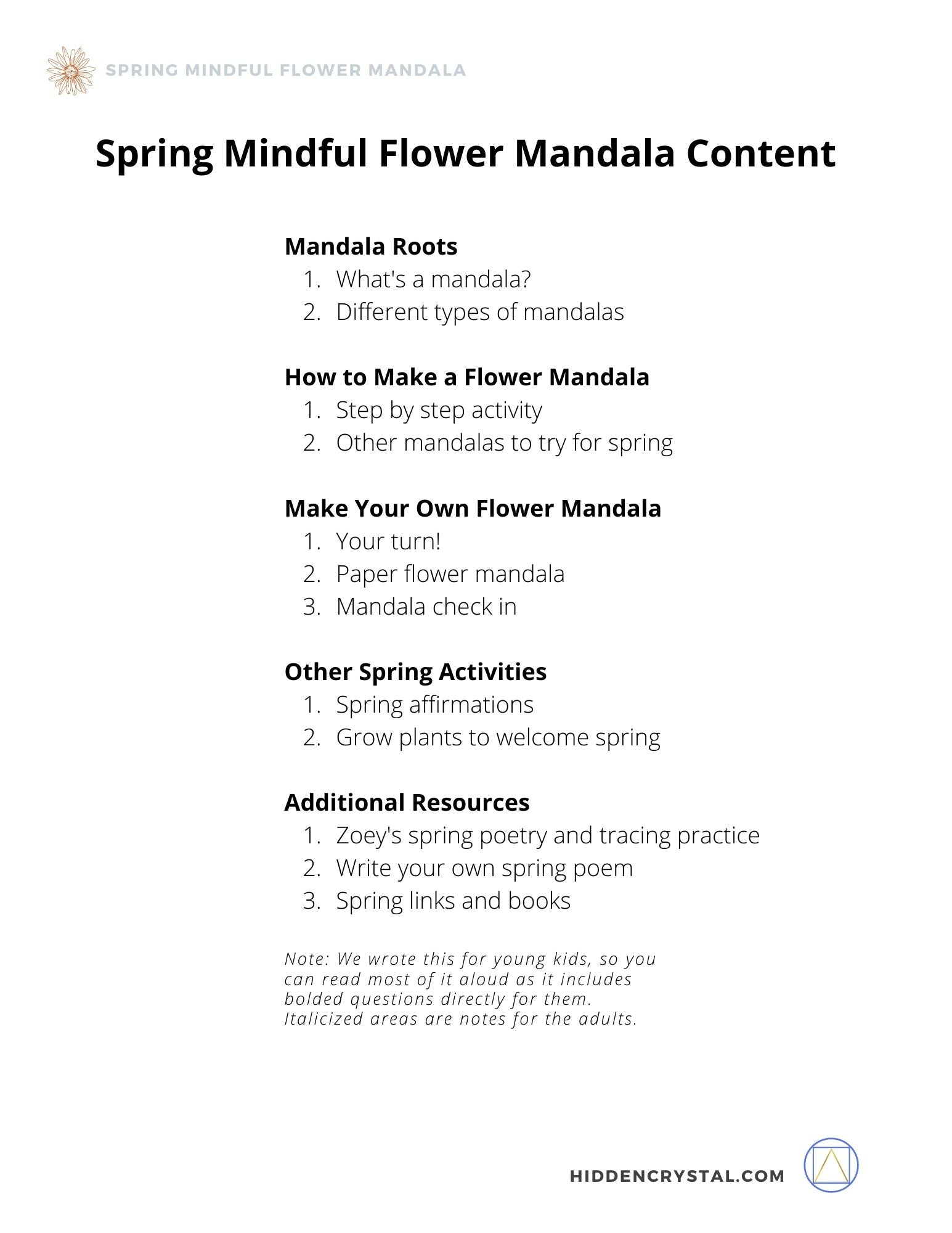 Spring Mindful Flower Mandala (Family Activity): Digital Download