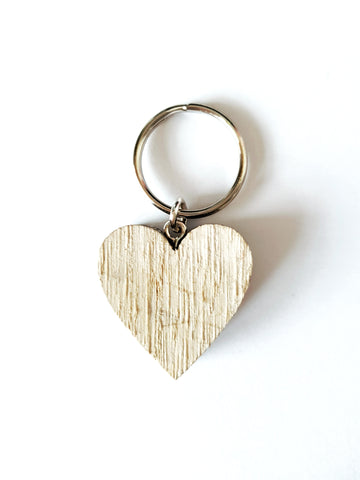 Wooden Heart Keyring