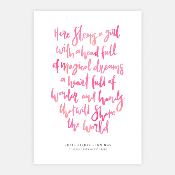 'Here Sleeps A Girl' Personalised Print