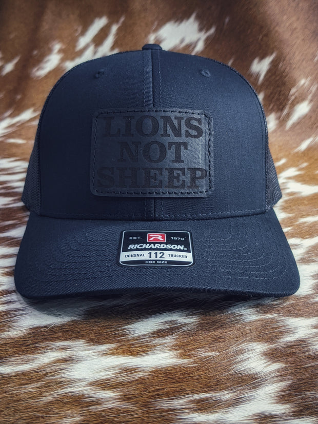 LIONS not SHEEP Leather Patch Hat