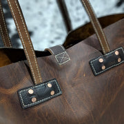 Amanda Leather Tote - Brown Leather