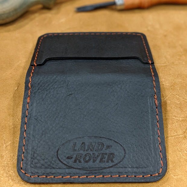 """Big Dan"" Leather Wallet - Color: Black Leather with Custom Logo"