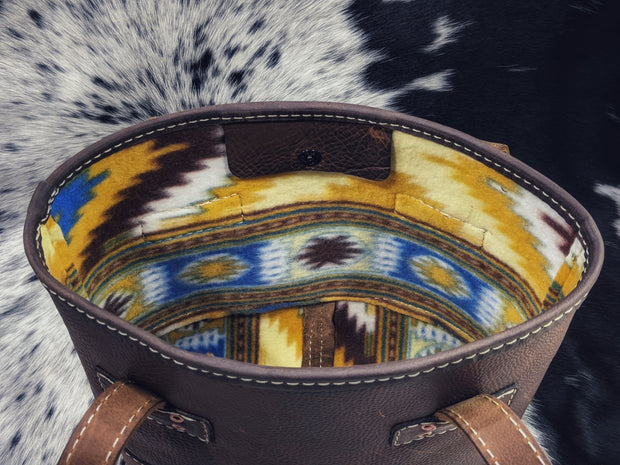 """Kristi Golden Aztec"" Leather Purse"
