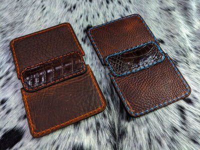 """Big Dan Alligator"" Leather Wallet - Color: Brown Leather  & Alligator"