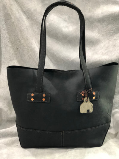 """Amanda"" Leather Tote - Black Leather"