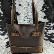"""Kristi"" Leather Tote - Brown Leather"