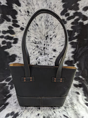 """Kristi"" Leather Tote with Light Tanned Pig Skin Liner - Black Leather"
