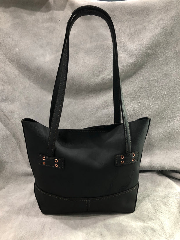 """Kristi"" Leather Tote - Black Leather"