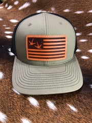 Turkey Feet Flag Leather Patch Hat