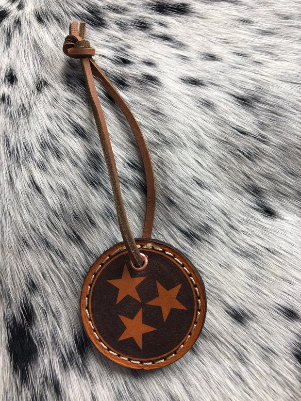 Tri Star Leather Key chain