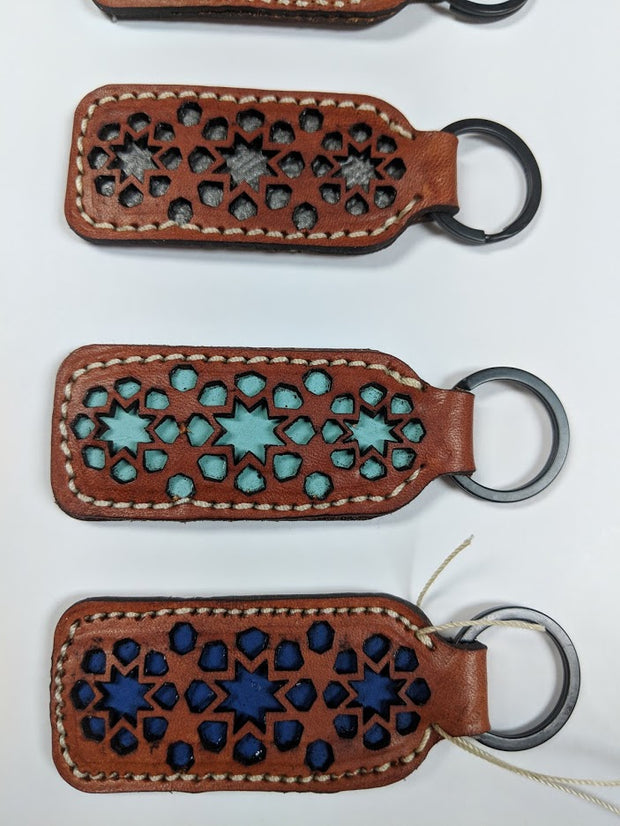 Pattern Cut Leather Keychain