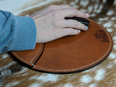 Circle Pocket Custom Leather Mouse Pad
