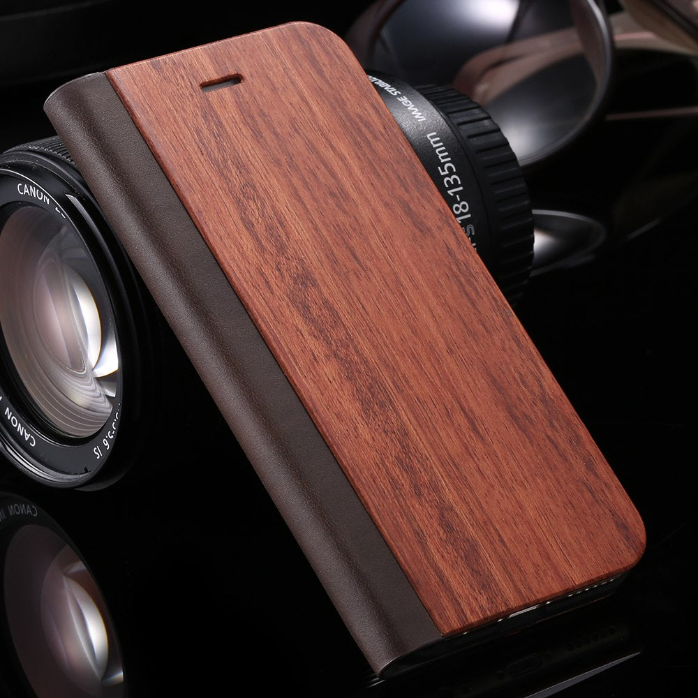 Premium Wood Flip Case For iPhone