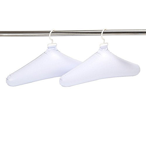 Deluxe Comfort Inflatable Travel Clothes Hanger - Rounded Edges Prevent Hanger Crease - Deflates for Compact Storage - Lightweight Easy-On Closets - Clothes Hangers, White - Pack of 4