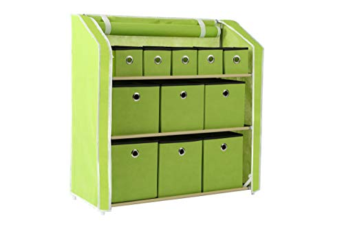 "Homebi Multi-Bin Storage Shelf 11 Drawers Storage Chest Linen Organizer Closet Cabinet with Zipper Covered Foldable Fabric Bins and Sturdy Metal Shelf Frame in Green,31""W x12"" Dx32""H"