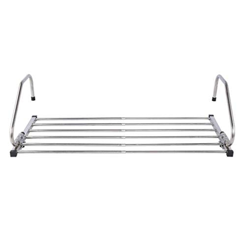 LE Stainless Steel Folding Clothes Rack,Window Sills Foldable Clothes Hangers Window Drying Rack Drying Sun Terrace Indoor Shoes Drying Clothes Rack A