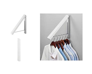 "iDesign Brezio Wall Mount Metal Clothes Hanger Drying Rack for Laundry Room, Bathroom or Bedroom, 1.78"" x 11.81"" x 15.7"", White"