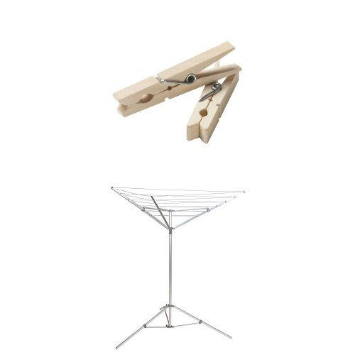 Household Essentials Portable Umbrella Drying Rack Bundle | Aluminum | Includes 96 ct Clothespins