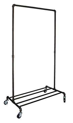 REAL HOME Innovations Real Home Modern Industrial Style Garment Rack with 4 Tube Shelf, Satin Pewter Finish