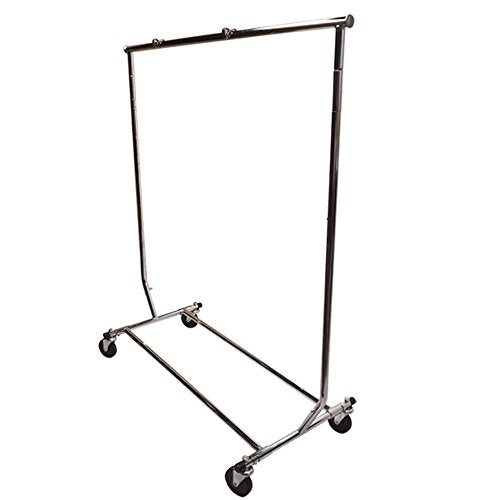 Single Bar Adjustable Clothes Rack Garmen Display Clothes Hanger Retail Rolling