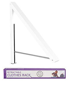 Stock Your Home Folding Clothes Hanger Wall Mounted Retractable Clothes Rack, Aluminum, Easy Installation - White 1 Pack