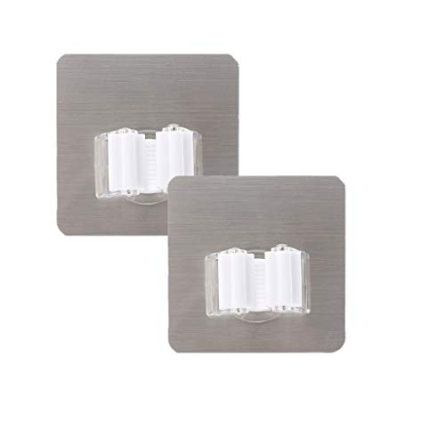 Onpiece Self Adhesive Broom Mop Holder Wall Mount Brush Hanger Spring Clip Home Organizer, 2 Pack (White)