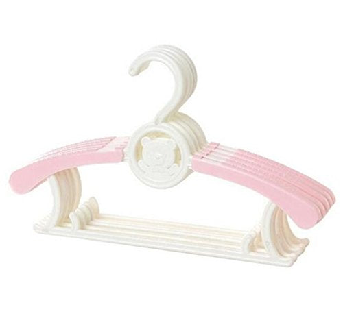MIAOQUTONG 1Pc Magic Multi-Functional Adjustable Plastic Baby Hangers Clothing Drying Rack pink
