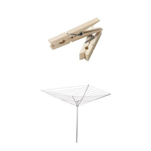 Household Essentials Rotary Outdoor Umbrella Drying Rack Bundle | Aluminum Arms and Steel Post | Includes 96 ct Clothespins