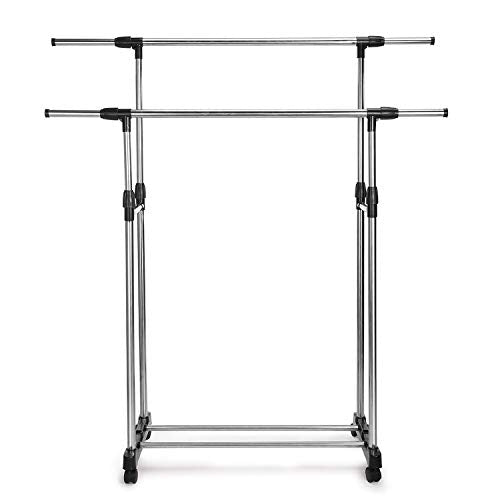 Fmissyao Clothing Garment Rack, Simple Housewares, Heavy Duty, Stainless Steel, ABS, Double Rail, Portable, Chrome