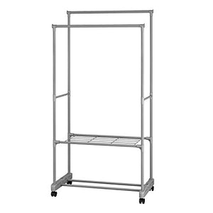 ALEKO SHE62G Portable Garment Clothes Rack Shelves Organizer Wardrobe, 62 Inches Tall Gray